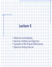 Advertising Lecture 5 - Objectives and Budgeting rev