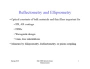 Lecture 14 Ellipsometery and reflectometry