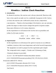 Result Report(Iodine Clock reaction)(1)