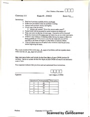 Chem 315 Exam 2A With Answers
