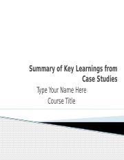 Summary of Key Learnings from Case Studies