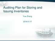 Auditing Plan for Storing and Issuing Inventory