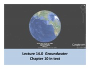 Lecture 14 Groundwater