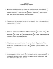 Chapter 4 Extra Word Problems