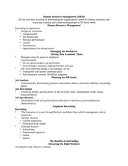 ADMN 401: Human Resource Management Notes