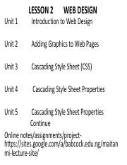 Lesson 2       WEB DESIGN