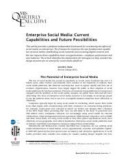 Enterprise Social Media Current Capabilities and Future Possibilities by G.C. Kane