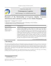 Research  of  the  Relationship  of  E-service  Quality,  Customer ...