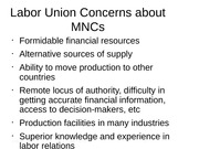 Labor Union Concerns about MNCs