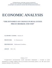 The Dynamics of Change in Real Estate Prices Bishkek and Osh