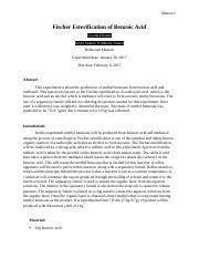esterification of benzoic acid lab report