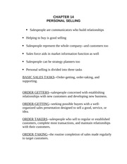 Personal Selling Notes