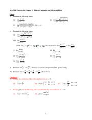 MA1200 Chapter 6 Limits, Continuity and Differentiability_Exercise