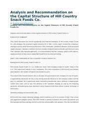 Analysis and Recommendation on the Capital Structure of Hill Country Snack Foods Co