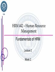 Lecture 2 - Fundamentals of HRM