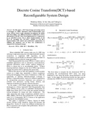 Discrete Cosine Transform(DCT)-based  Reconfigurable System Design