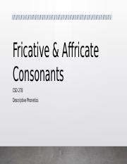 Week 6 -- Fricatives and Affricates.pptx