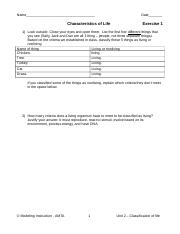 Biology Exercise 1 What is Life Ethan W.docx