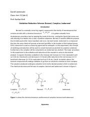 oxidation of isoborneol essay Oxidation of isoborneol is an exothermic reaction the mass of isoborneol/ kg of camphor is found to be suprox and its efficacy- peer reviewed papers aka.