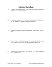 dilutions worksheet.doc - 150 mL, what will the molarity of the ...