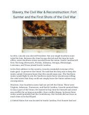Alyssa Moore - Slavery, the Civil War & Reconstruction: Fort Sumter and the First Shots of the Civil