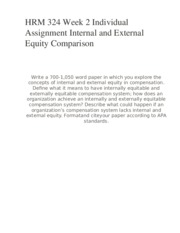 HRM 324 Week 2 Individual Assignment Internal and External Equity Comparison