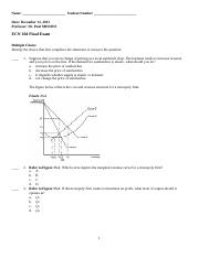 ECON FINAL EXAM - Name Date Use the following to answer questions ...