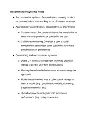 Recommender Systems Notes