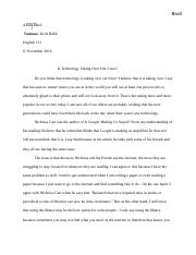 Is Technology Taking Over Our Lives Paper.docx