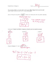 Math 125 Quiz 1 Key On Intermediate Algebra