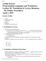 Lecture 18 Translation of Arrays, Booleans,
