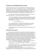 Transforms of Probability Density Functions