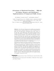 Advantages of Backward Searching -  Efficient secondary memory and dist implementation of CSA