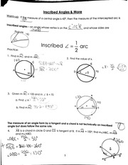 inscribed angles and more notes