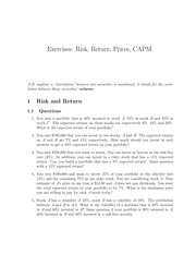 Risk Return Exercises