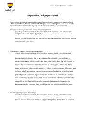 Proposal for Final Paper worksheet- Week 1 Assignment
