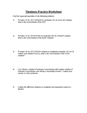 Titrations Worksheet