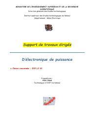 Travaux Diriges Ei L2 S1 2015 Electronique De Puissance Pdf Ministere De L U2019enseignement Superieur Et De La Recherche Scientifique Direction Course Hero