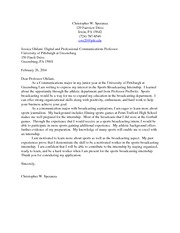Cover Letter Assignment 1 Digital and Professional Communications