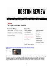Boston Review, The Logic of Effective Altruism