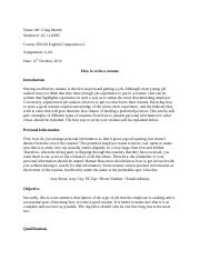 Assisgnment 4 How to write a good resume