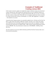 Traditional Costing versus ABC