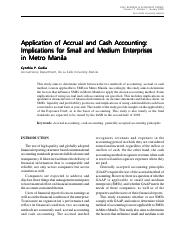 Application of Accrual and Cash Accounting- Implications for Small and Medium Enterprises in Metro M