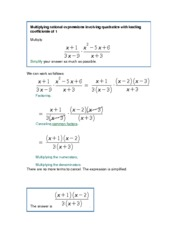 MATH 143 Multiplying rational expressions involving quadratics with leading coefficients of 1