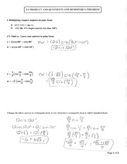 Section 8.3 Products, Quotients, and DeMoivres theorem Notes