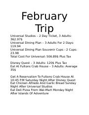 February Trip Prices