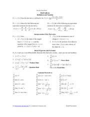 Calculus Cheat Sheet Derivatives Pauls Online Math Notes Jpg Calculus Chart Sheat Derivatives Definition And Notation If Y X Then The Derivative Is Course Hero Linear algebra tutorial online math notes online math tutorial trig cheat sheet. course hero