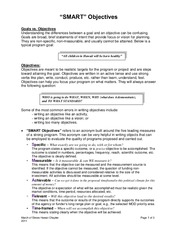 March of Dimes SMART Objectives Sample