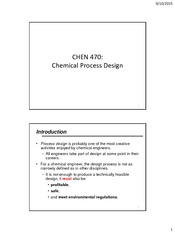 CHEN 470 - Part 1 - Intro to Process Design - Fall 2015-16
