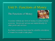 Unit9 Functions of Money